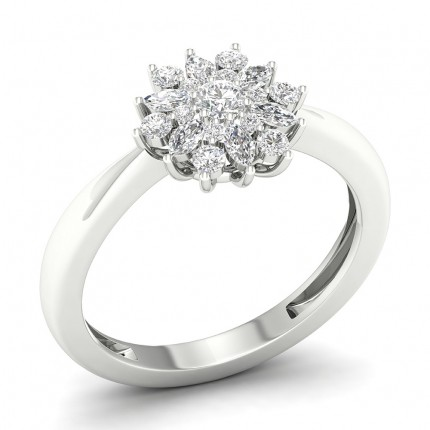Prong Round  Diamond Halo Ring