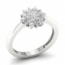 Bague halo de diamants ronds sertis griffes