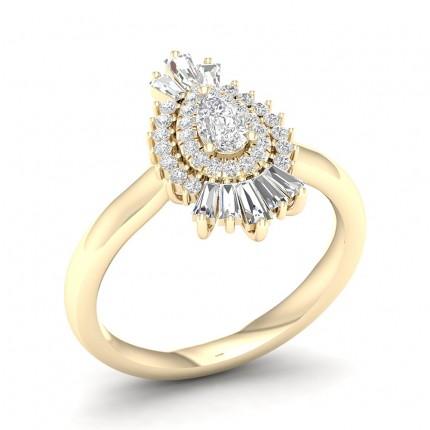 Prong Setting Pear Diamond Halo Ring