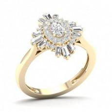 Bague halo de diamants ovales sertis griffes