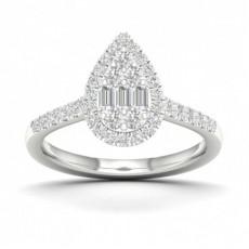 Micro Pave Setting Baguette Diamond Fashion Ring