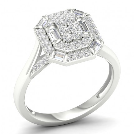 Micro Prong Setting Round Diamond Fashion Ring