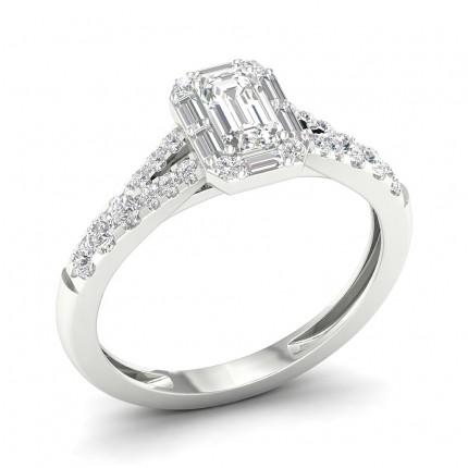 Micro Prong Setting Emerald Diamond Halo Ring