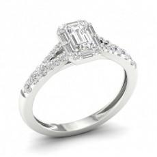Bague halo de diamants émeraude sertie micro griffes