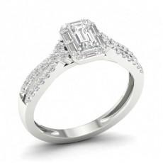 Bague halo diamant émeraude sertie griffes