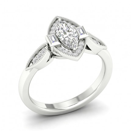 Micro Pave Setting Marquise Diamond Halo Ring