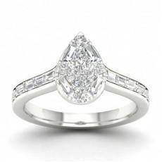 Bague halo de diamants poire sertie micro pavé