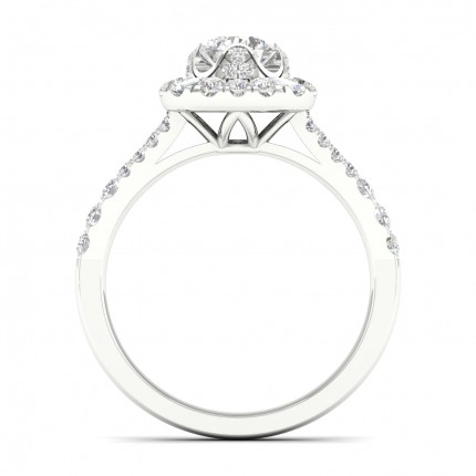Micro Pave  Setting Round Diamond Halo Ring