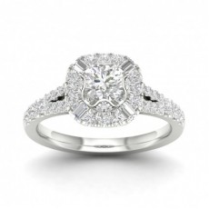 Bague halo de diamants ronds sertis micro pavé