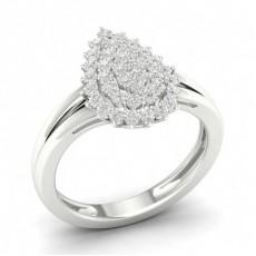 Illusion Setting Round Diamond Cluster Ring