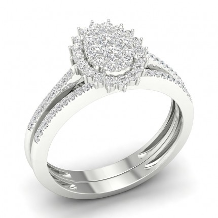 Micro Prong Setting Round Diamond Cluster Ring With Matching Band