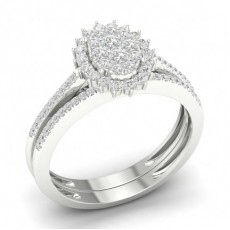 Bague en grappe de diamants ronds sertis micro-griffes avec bande assortie