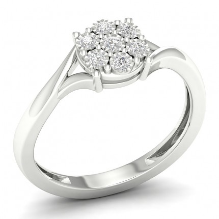 Illusion Setting  Round Diamond Cluster Ring
