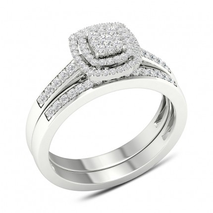 Micro Pave Setting Round Diamond Cluster Ring With Matching Band