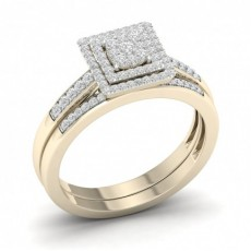 Bague en grappe de diamants ronds sertis micro-pavé avec bande assortie