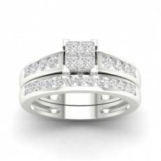 Bague en grappe de diamants princesse sertie de canaux