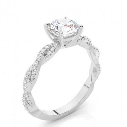 4 Prong Setting Side Stone Diamond Engagement Ring