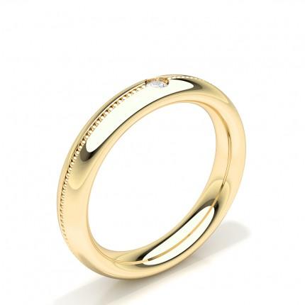 Solitär Runde Diamant besetzte Damen Ehering