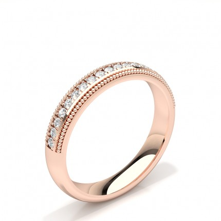 Diamond Studded Milgrain Design Womens Wedding Band