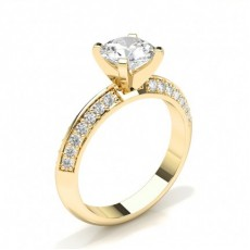 Round Side Stone Diamond Engagement Rings