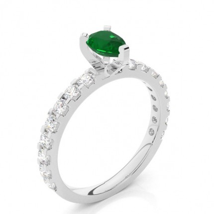 Prong Setting Pear Emerald Side Stone Ring