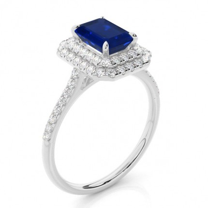 Prong Setting Blue Sapphire Halo Ring