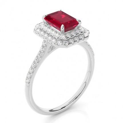 Zinkeneinstellung Ruby Halo Ring