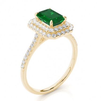 Prong Setting Emerald Halo Ring