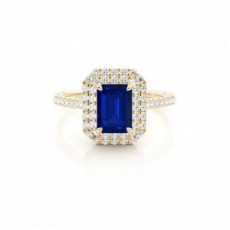 Yellow Gold Sapphire Diamond Engagement Rings