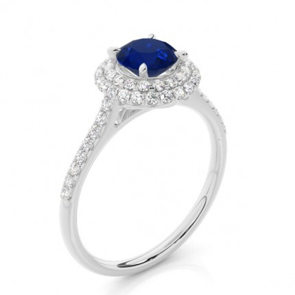 Prong Setting Round Blue Sapphire Halo Ring