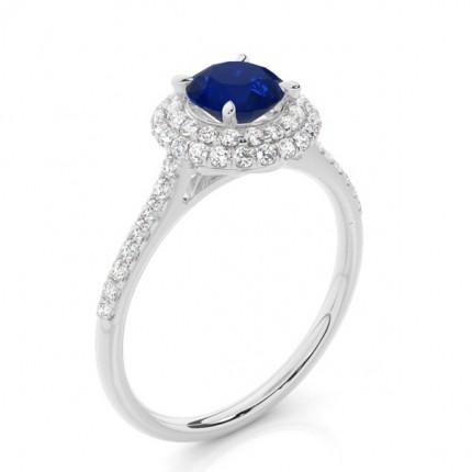 Zinkeneinstellung Runder blauer Saphirhalo-Ring