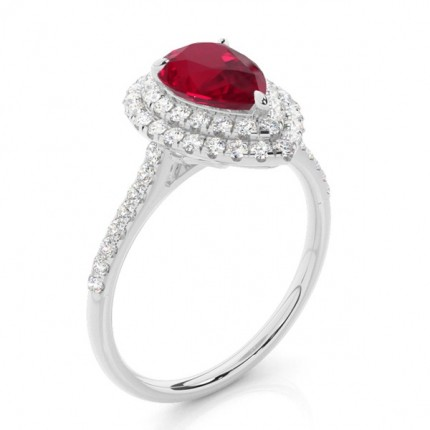 Prong Setting Pear Ruby Halo Ring