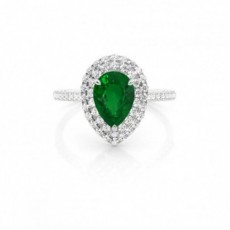Platinum Emerald Diamond Engagement Rings
