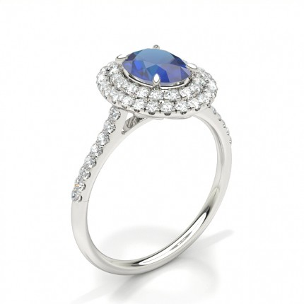 Prong Setting Oval Blue Sapphire Halo Ring