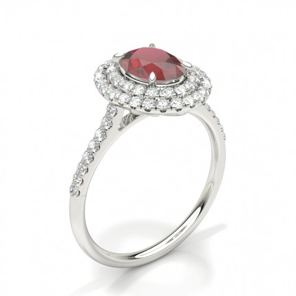Prong Setting Oval Ruby Halo Ring