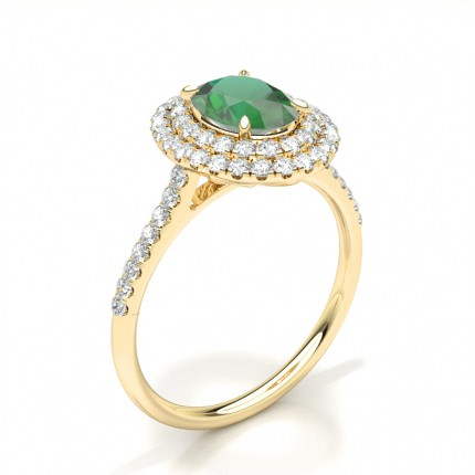 Prong Setting Oval Emerald Halo Ring