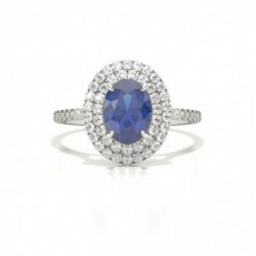 Zinkeneinstellung Oval Blue Sapphire Halo Ring