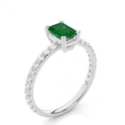 Prong Setting Emerald Engagement Ring