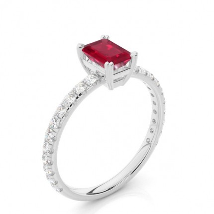 Prong Setting Emerald Ruby Engagement Ring