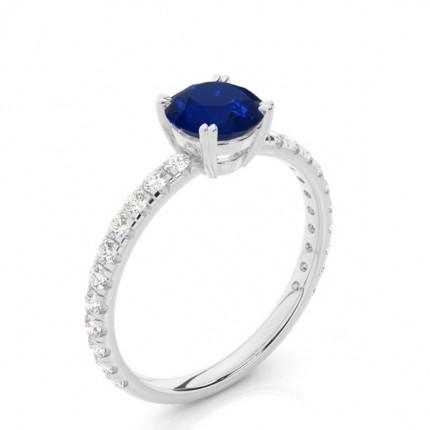 Zinkeneinstellung Runder blauer Saphir-Verlobungsring