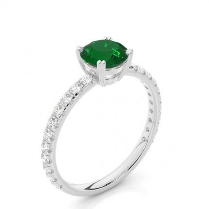 Prong Setting Round Emerald Engagement Ring