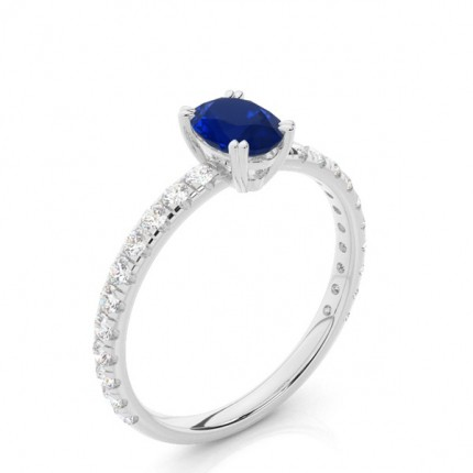 Prong Setting Oval Blue Sapphire Engagement Ring