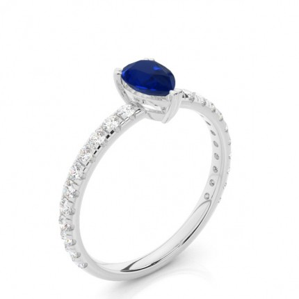 Prong Setting Pear Blue Sapphire Engagement Ring