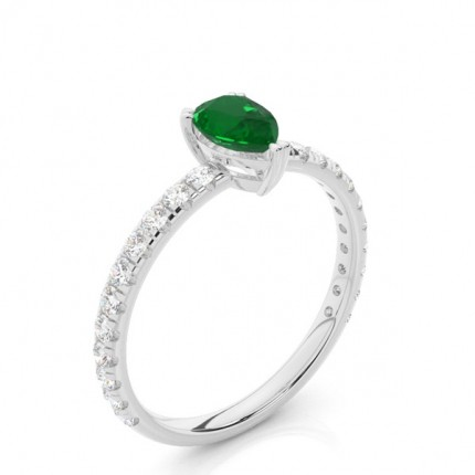 Prong Setting Pear Emerald Engagement Ring