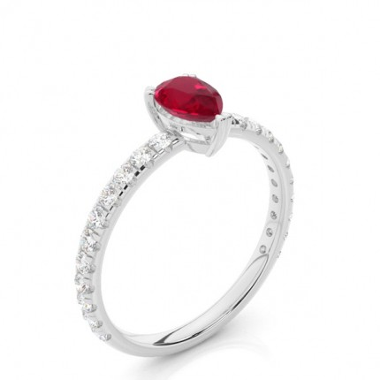 Prong Setting Pear Ruby Engagement Ring