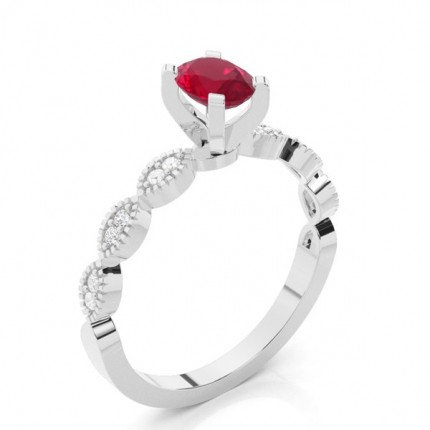 Prong Setting Oval Ruby Side Stone Ring
