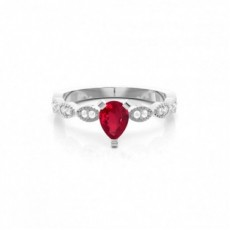 White Gold Ruby Diamond Engagement Rings