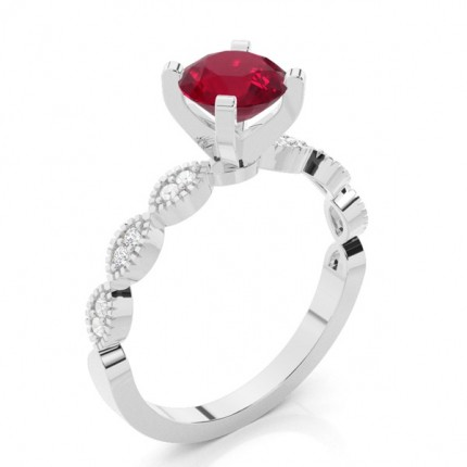 Prong Setting Round Ruby Side Stone Ring