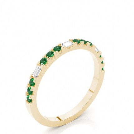 Prong Setting Round Emerald Half Eternity Ring