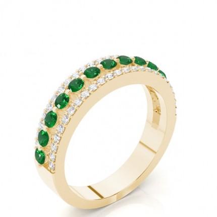 Zinkeneinstellung runder Smaragd halber Ewigkeitsring